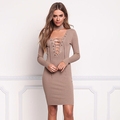China Products Small Quantity Choker Lace Up Plunge Bodycon Dress