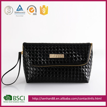 fashion design black Support ODM OEM straw imitation PU bag small wholesale zipper coin purse