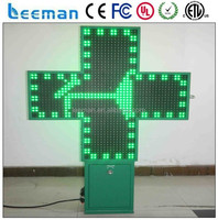 Leeman Group 3D Led pharmacy cross display /Croix de pharmacie led production, bluetooth controller led pharmacy cross