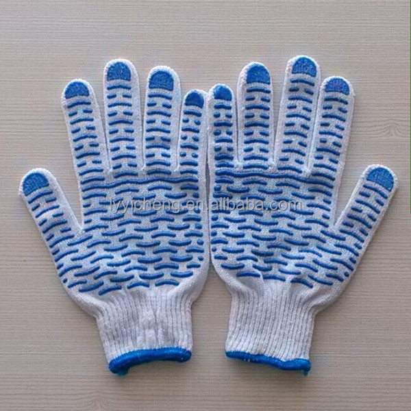 new design cotton knitted pvc dotted safety glove for hand protection