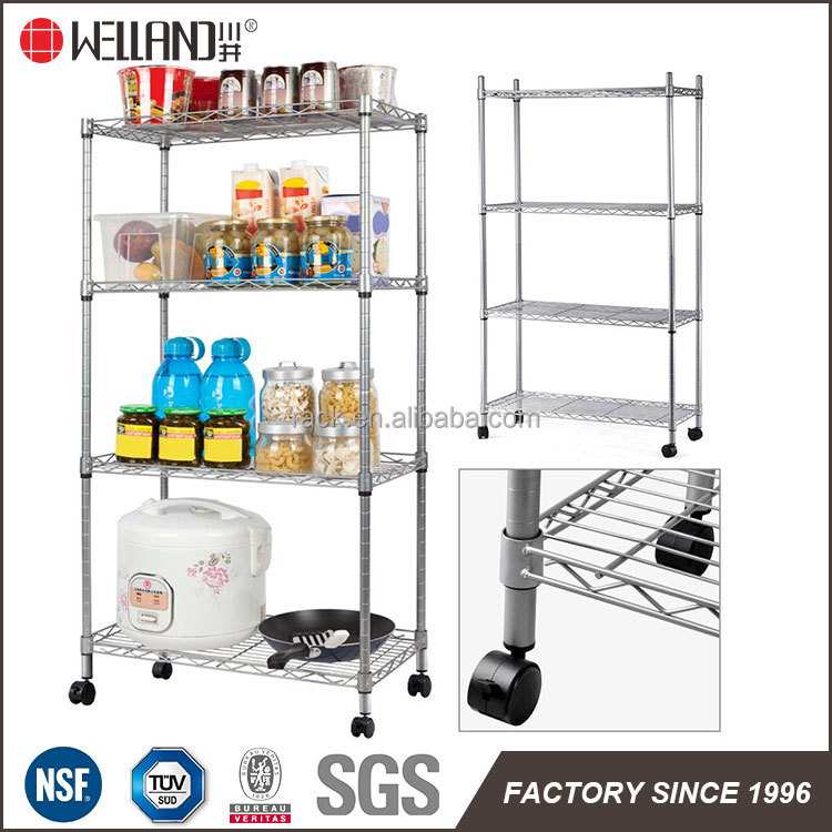 Epoxy Coated Metal wire food storage racks stands with wheels