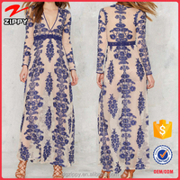 Wholesale Gorgeous Blue Floral Embroidery Free Maxi Prom Women Dress