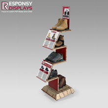 beautiful design wooden shoe rack display for store