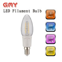 no plasic parts 2w B35 led filament candle bulb