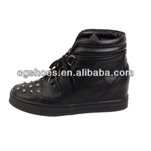 China manufacturers metallic rivets wedge sneaker for women