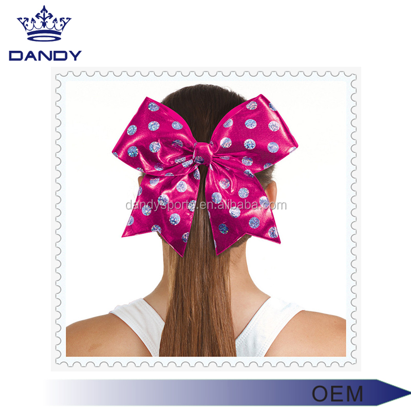 Colored hair accessories cheer ponytail school sport large hair bows with oem