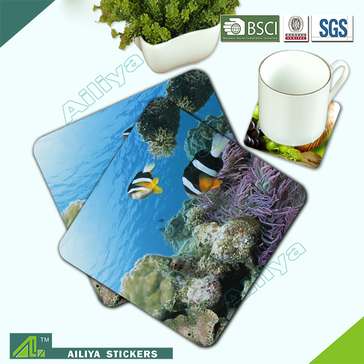 promotional advertising full color printing anti-slide custom logo square glass table rubber pad
