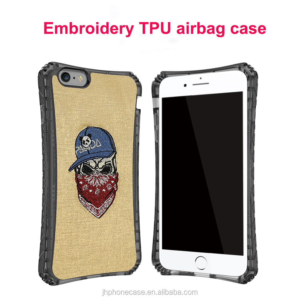 Brandnew heavy duty bumper airbag TPU DIY cover for iPhone 6 for iPhone 7 8 embroidery case