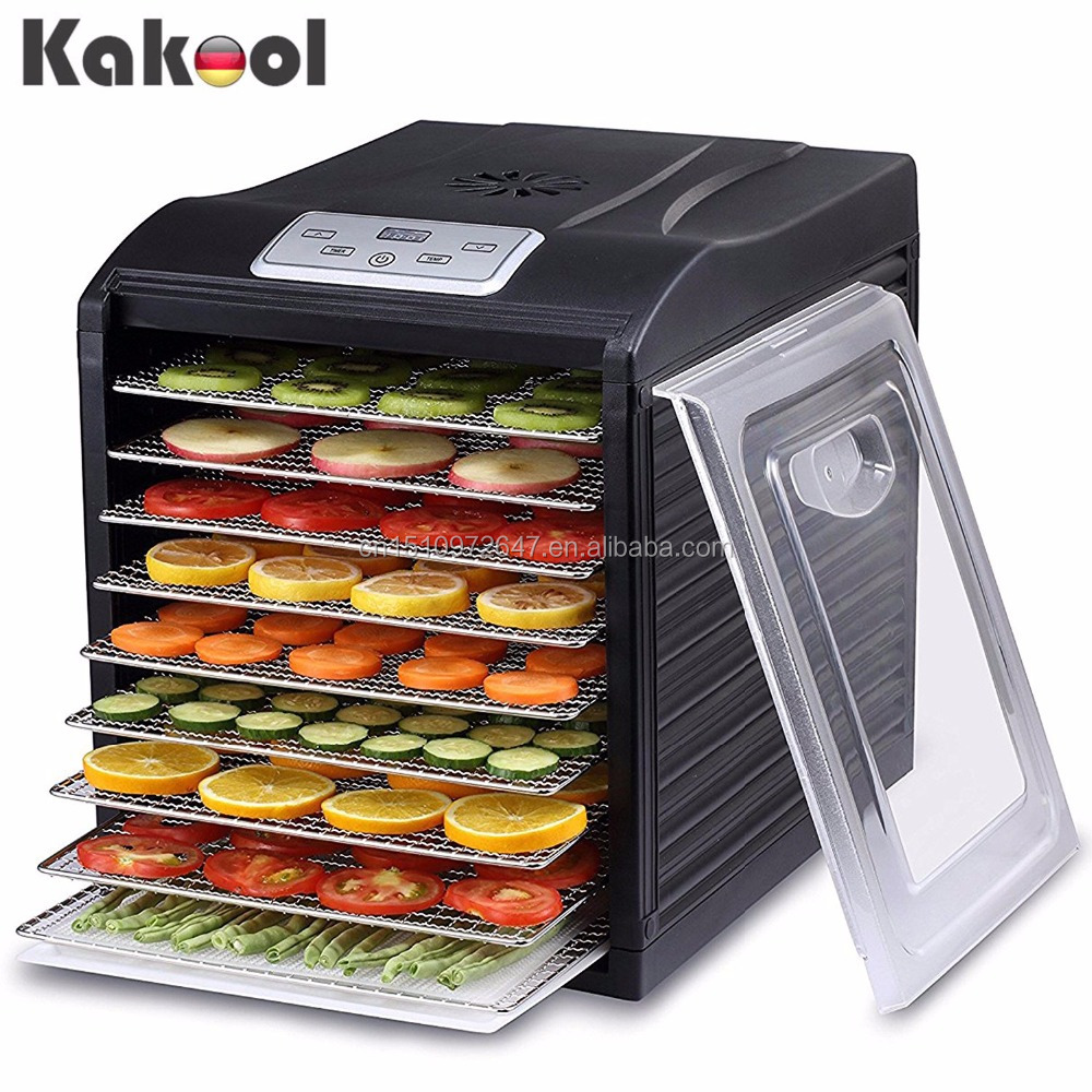 Black Color Digital Raw Food Jerky Drying Machine Food dehydrator with BPA FREE Stainless Steel Drying Trays 6-9 trays option