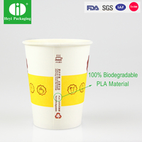 16 oz PLA compostable coffee paper cup with CPLA compostable lid