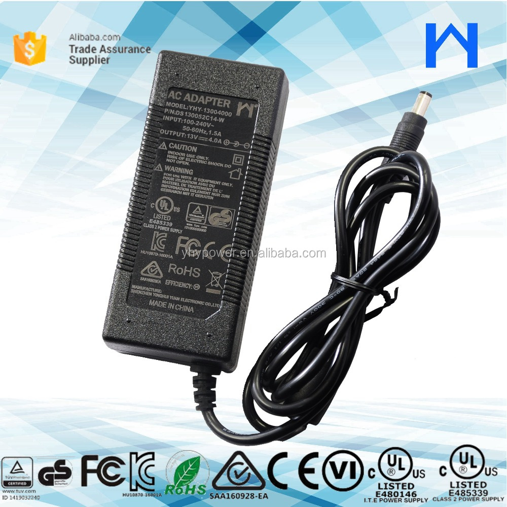 LEVEL 6 Desktop brick type power adapter 13V 4A Class 2 Power Supply 13V 4A