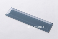 "2015 New Arrival Bathroom Wall Blue Heaven 3""x12"" Beveled Glass Tiles"