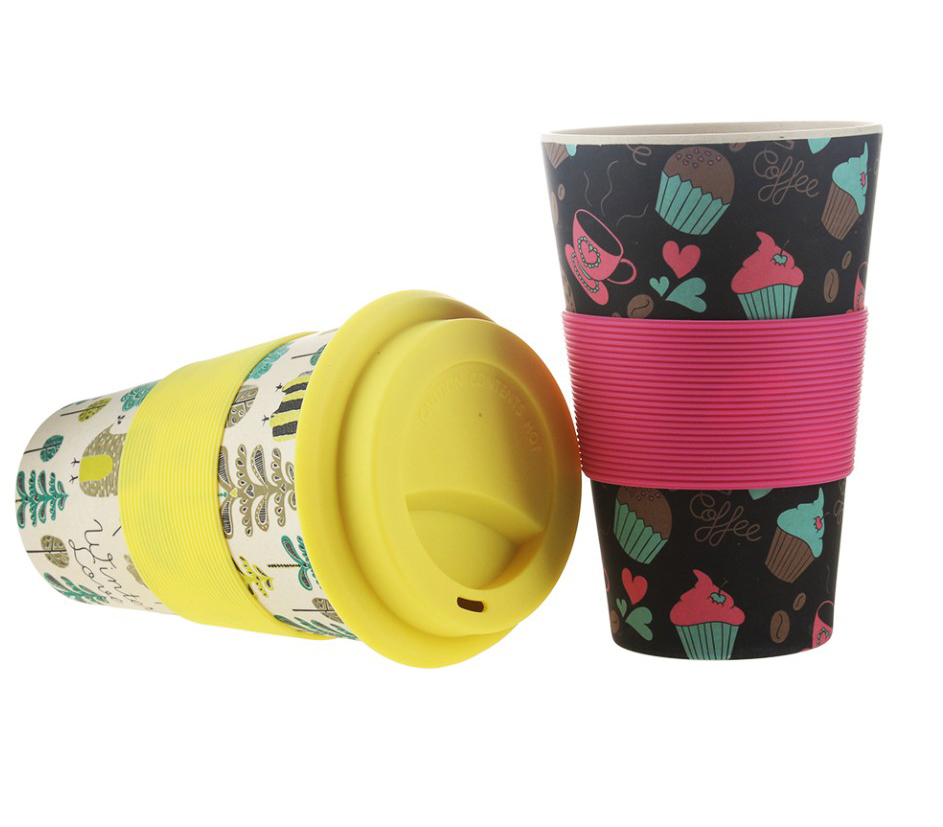 Eco biodegradable 15oz reusable Bamboo travel mug coffee <strong>cup</strong> with silicone lid and sleeve dishwasher safe