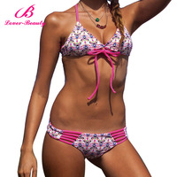 Lover-Beauty New Pink Design Printed Feature Transparent Swimwear Girl