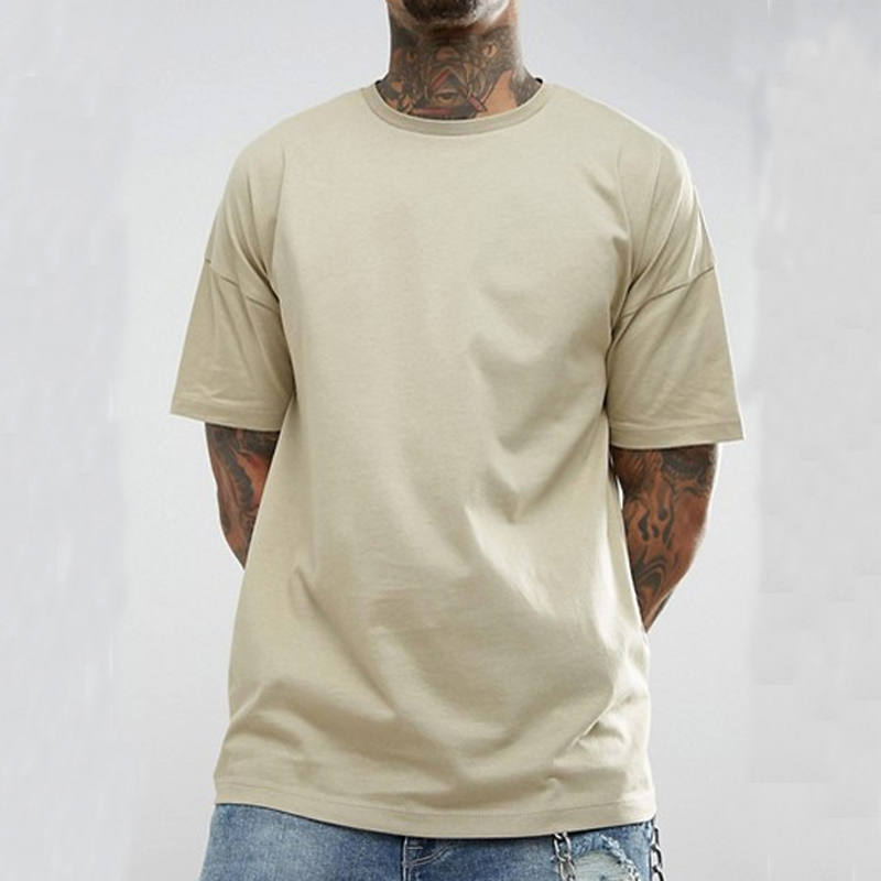 Hip Hop Blank T <strong>Shirts</strong> Drop Shoulder Mens Boxy Tee <strong>Shirt</strong> In Beige