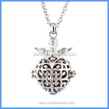 Angel Prayer Heart Shape Rhinestones Metal Hollow Cage Chime Box Musical Sound Bell Pendant Lucky Pregnancy Necklaces BAC-M058