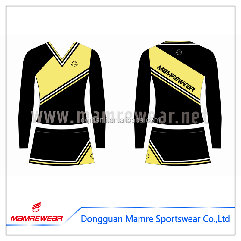 Custom wholesale cheerleading uniforms breathable fashion design , plus size cheerleading uniforms for sale