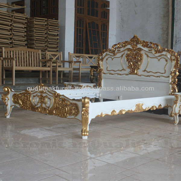 Antique Bedroom Furniture - Antique French White Rococo Bed