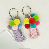 Fur pom pom Lovely Fluffy Ball Key Chain Pendant Cute Pompom Keychain Women Car Bag tassel Key Ring