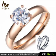 Stainless Steel Lover Jewelry Silver Rose Gold Engagement Wedding Zircon Ring