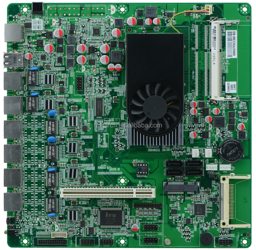 D2550 Motherboard DC 12V input 6 Ethernet Port Firewall Mainboard