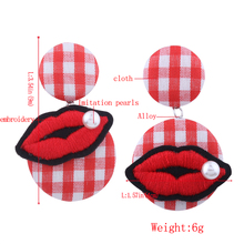Cheap price wholesale button earrings korean fabric