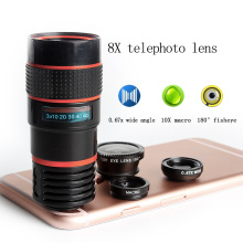 best selling 8x telephoto zoom wide angle macro fisheye 4 in1 camera lens for smartphone
