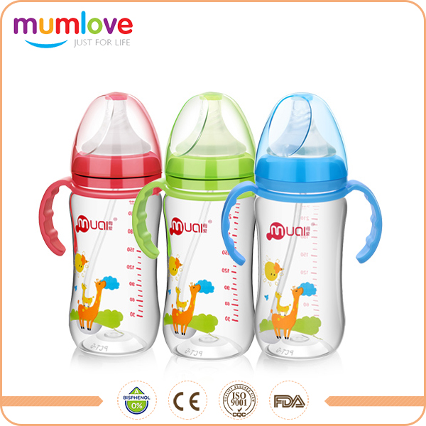 Free Samples BPA Free Baby Infant Milk Bottle OEM Design With Suck Straw