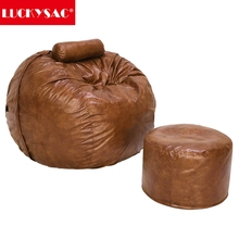 LUCKYSAC 5-foot Bean Bag Faux Leather Extra Large BeanBag Chair Foam Sofa with Brown