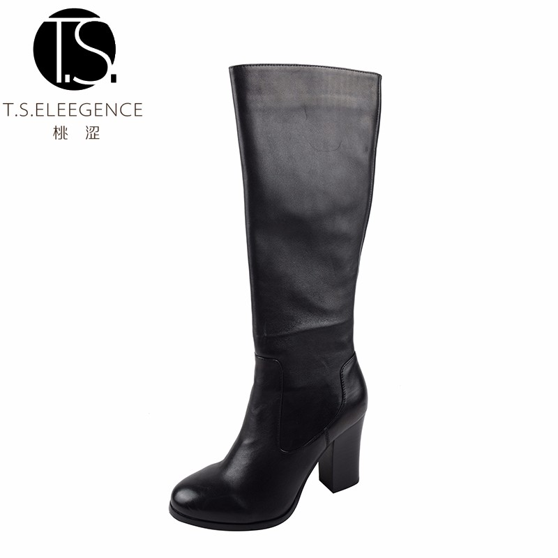 Latest Fashion Sexy Ladies Genuine Cow Leather Knee High Black Women Boots Shoes