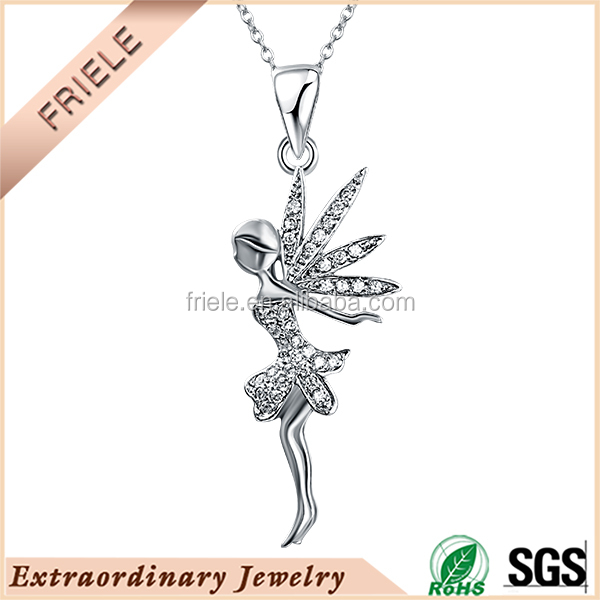 Custom pendant designs micro pave cz angel pendant sterling silver jewelry wholesale