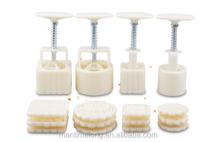 4Patterns Square Moon cake Fondant Sugarcraft Decorating Mould Baking Tool Set