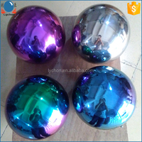 "stainless steel 10"" 12"" 20"" hollow gazing ball of blue red rainbow golden silver"