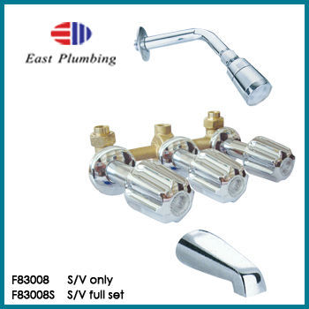 F83008S Eastplumbing Chrome Tub + Shower Valve Kit Complete w/ Matching Trim + Spout Baypointe