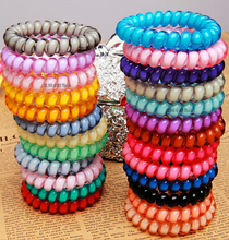 Fluorescence colors plastic hair accessory elastic tie hair holders telephone wire line hair band