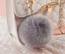 Fake Fox Fur Woman Cap Ball Accessories Charm Pom Pom bag Keyring
