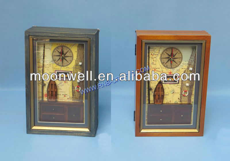 Wooden key box,Shadow box,Window box with clock,Nautical key cabinet,Gifts,Souvenir,Handicrafts,Decor,Crafts,Home Decoration