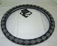 Black and white dull polish leather car steering wheel cover
