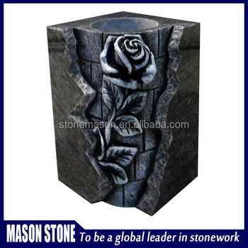 New design rose granite cemetery vases for tombstone gravestones in cheap prices