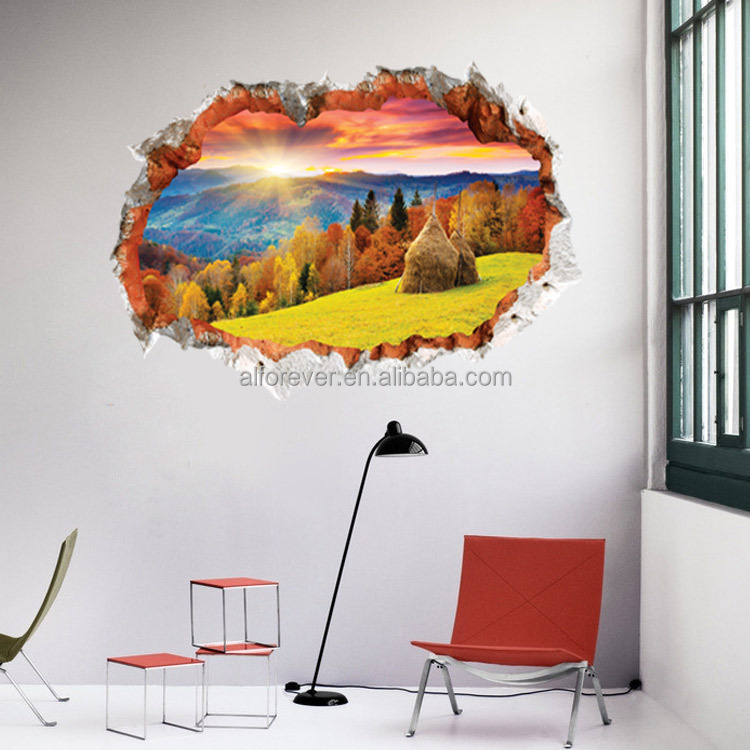 ALFOREVER 3D window for home decoration Sea sailing,Red autumnal leaves and Goose,Picturesque landscape pvc wall decals for home