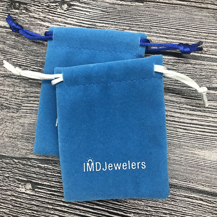 Blue Printed Velvet Customized Bags for lapel pins
