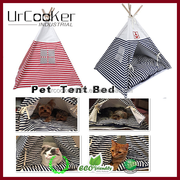 Navy Striped pet dog cat teepee easy tent bed