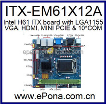 Intel H61 MINI ITX MB(motherboard) for I3, I5, I7 ITX-EM61X12A