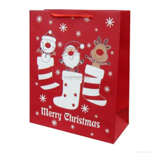 Christmas stocking style paper carry bag , festival gift bag , shopping paper bag for retail