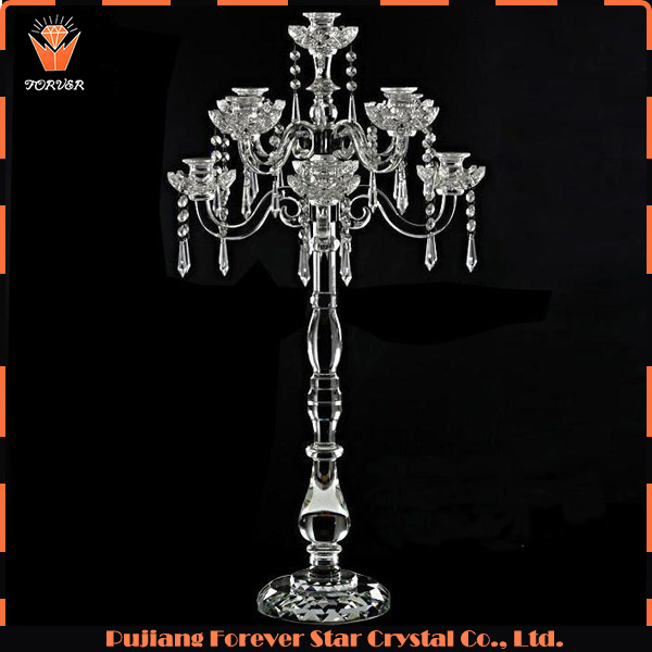 factory price floor crystal candle holder for wedding