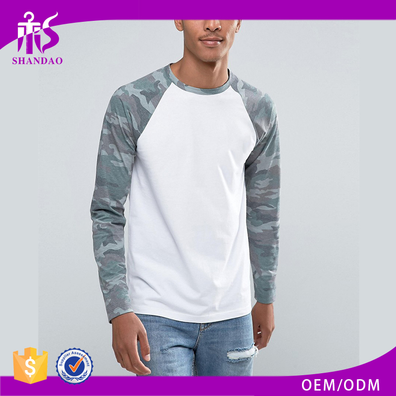 Guangzhou Shandao Manufacture Printing O-Neck Casual 200gsm Cotton Polyester Men Cheap Wholesale Camo Long Sleeve T Shirts