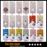 2016 New Hot Cartoon Movie Transparent TPU Phone Back Cover BigHero 6 Baymax Catoon Image Phone Case For Iphone 6