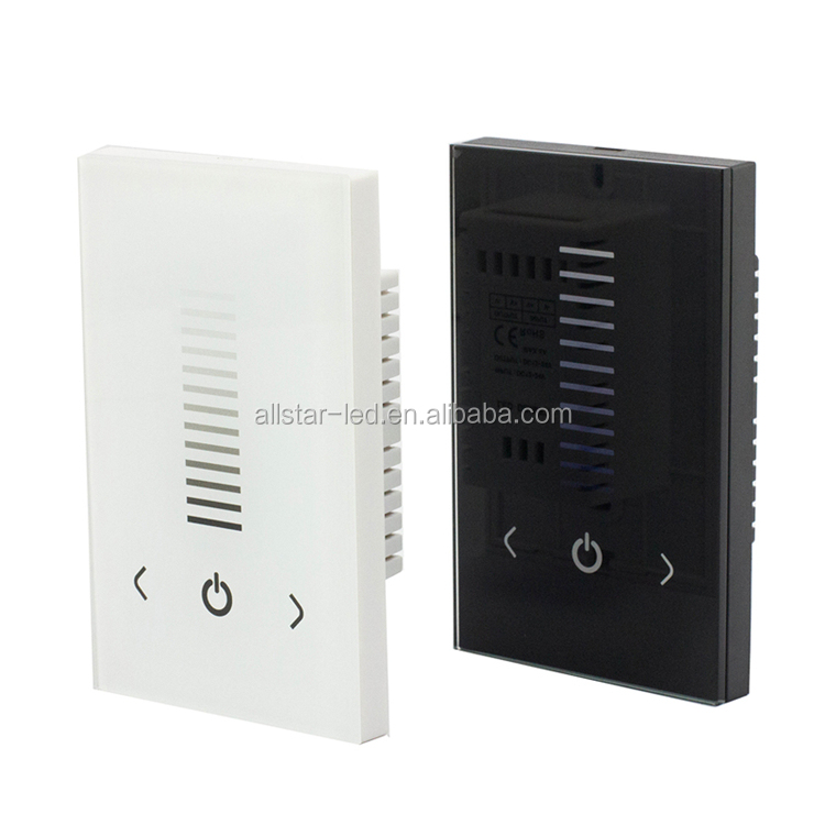 USA Size DC12-24V Glass Touch Dimmer Touch panel Dimmer Wall Switch for Single Color LED Strip Light Lamp Black White