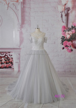 Unique short sleeve ball gown bridal dress in grey color