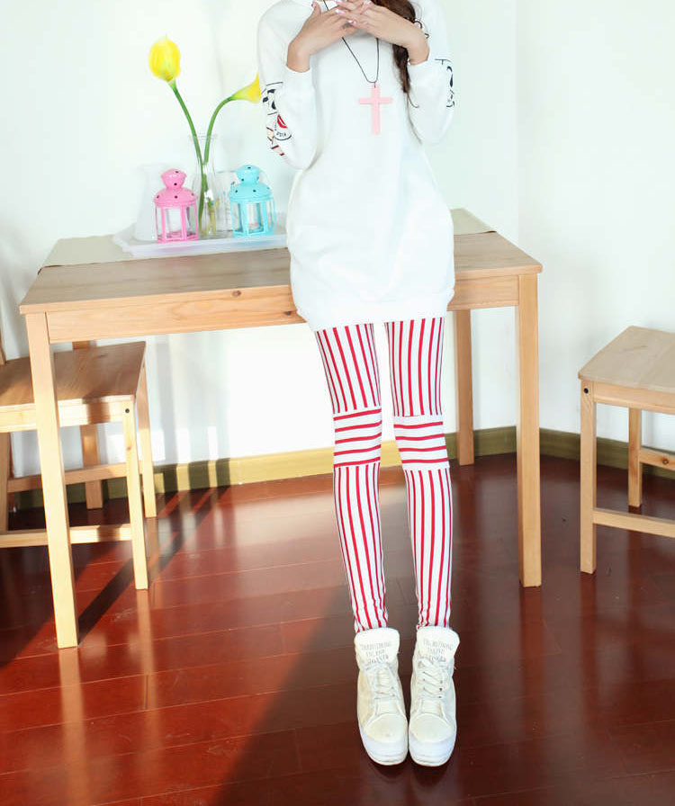 Spring Korean Fashion Personality Wild Fluorescent Spliced Bottoming Vertical Stripes Pants 9024